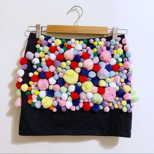 Fun and Colorful Pom Poms mini skirt